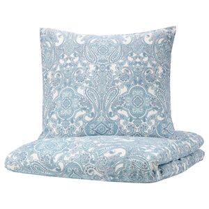 JÄTTEVALLMO Bettwäscheset, 2-teilig, weiß/blau