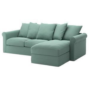 GRÖNLID 3er-Sofa, mit Récamiere/Ljungen hellgrün
