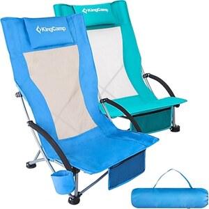 KINGCAMP Strand Liege Stuhl Hoch Lehne Camping Klapp Falt Sessel Niedrig 136 kg Farbe: cyan