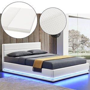 Juskys Polsterbett Toulouse 140x200 cm mit Matratze, Lattenrost, Kopfteil, LED & Stauraum in Weiß