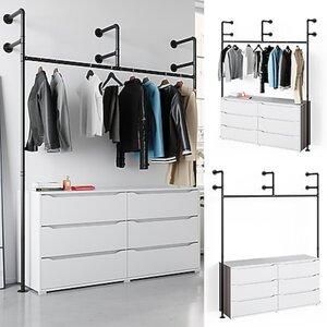 Vicco Loft Kleiderschrank RUBEN Kleiderstange Garderobe offen begehbar Kommode 160 cm