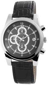 Echtleder Armbanduhr mit einem Gehäuse aus Metall in Schwarz