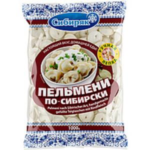 Handgemachte Teigtaschen nach Sibirischer Art mit Rindfleisc...