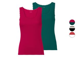 ESMARA® Ripptop Damen, 2 Stück, mit eleganter Spitze