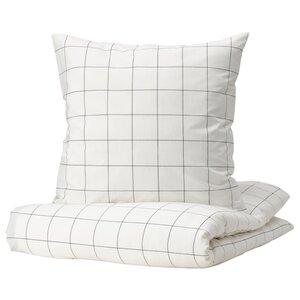VITKLÖVER Bettwäsche-Set, 2-teilig, weiß schwarz/Karo
