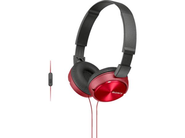 SONY MDR-ZX310APR Kopfhoerer mit Headset rot - On-Ear-Kopfhörer