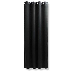 Ösenvorhang LANOS - schwarz - 140 x 245 cm