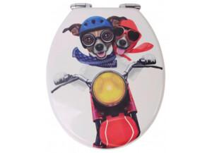 MDF-WC-Sitz Motiv Biker Dogs
