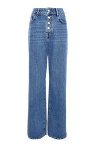 Blaue, weite High-Waist-Jeans mit Knopfleiste