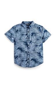 Marineblaues Hemd mit Blattmuster (kleine Jungen)