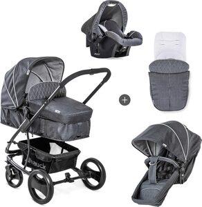 Hauck Kombi-Kinderwagen »Pacific 4 Shop N Drive, Melange Charcoal«, mit Babyschale  Kinderwagen