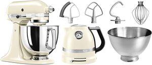 KitchenAid Küchenmaschine Artisan 5KSM175PSEAC, 300 W, 4,8 l Schüssel, mit Gratis Wasserkocher, 2. Schüssel, Flexirührer