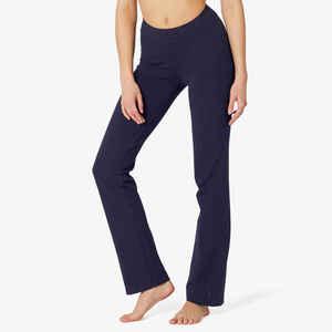 Leggings Baumwolle Fitness Fit+ gerader Schnitt Damen marineblau