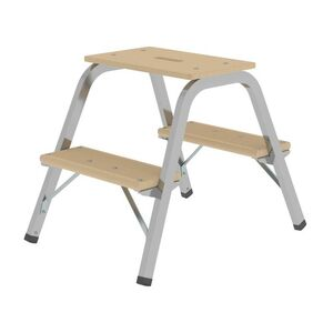 Günzburger Steigtechnik Stahl-Holz-Tritt 2x2 Stufen