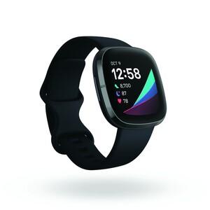 Fitbit Sense Carbon Graphite Smartwatch (GPS, Herzfrequenzmessung, Hauttemperatursensor, bis zu 6 Tage Akkulaufzeit)