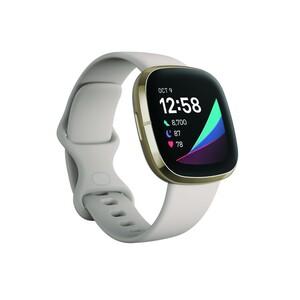 Fitbit Sense Lunar White Soft Gold Smartwatch (GPS, Herzfrequenzmessung, Hauttemperatursensor, bis zu 6 Tage Akkulaufzeit)