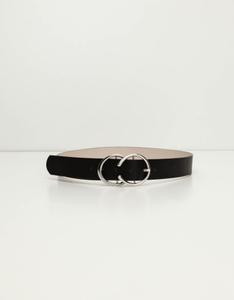 Schwarzer Gürtel mit runden Schnallen