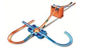 Hot Wheels Track Builder Unlimited Mega Stunt Box, Autorennbahn mit 2 Autos