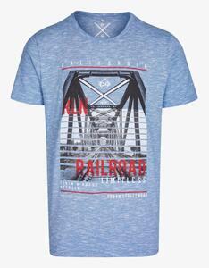 Via Cortesa - Meliertes T-Shirt mit Frontdruck