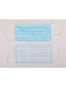 Hygienemaske, Weiß   Blau, Gewebe, 50 Stück