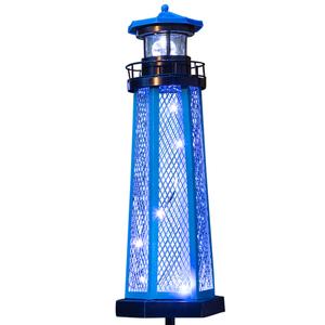 "I-Glow LED Solar Leuchtturm ""Nordsee"", Blau"