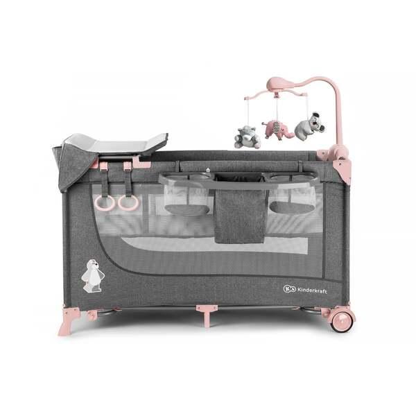 Kinderkraft JOY-Reisebett 2in1mit Zubehör pink