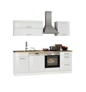 Küchenblock ROM - weiß Hochglanz - mit E-Geräten - 220 cm