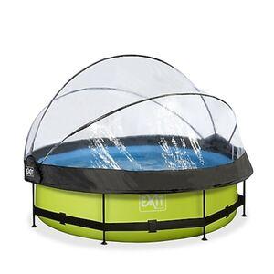 EXIT Lime Pool ø300x76cm mit Abdeckung und Filterpumpe - grün