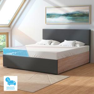 Wasserbett, 180 x 200 cm, eiche/graphit