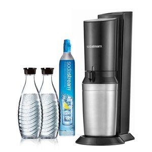 SodaStream Crystal 2.0 Wassersprudler schwarz inkl. 2 Glaskaraffen schwarz, silber
