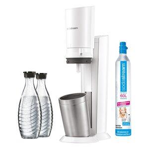 SodaStream Crystal 2.0 Wassersprudler weiß inkl. 2. Glaskaraffe silber, weiß