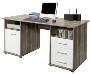 Schreibtisch in Weiss/Eiche 'Penta'