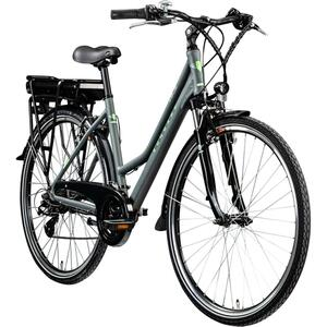 Zündapp Z802 700c E-Trekkingrad Damen E-Bike 28 Zoll Elektrofahrrad Pedelec 21 Gänge, Farbe:grau/grün, Rahmengröße:48 cm