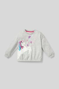 C&A Einhorn-Sweatshirt-Bio-Baumwolle-Glanz-Effekt, Grau, Größe: 92