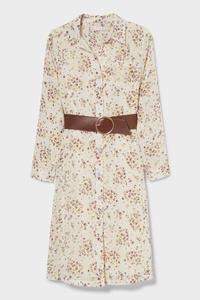 C&A Kleid mit Gürtel, Weiß, Größe: 104
