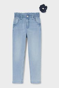 C&A Set-Relaxed Jeans und Haargummi, Blau, Größe: 146