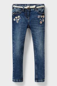 C&A Skinny Jeans mit Gürtel, Blau, Größe: 92
