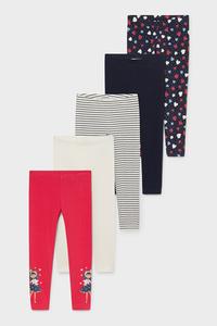 C&A Multipack 5er-Leggings-Bio-Baumwolle, Pink, Größe: 134