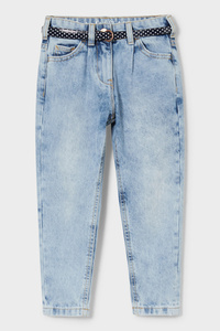 C&A Mom Jeans mit Gürtel, Blau, Größe: 92