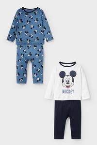 C&A Micky Maus-Baby-Pyjama-Bio-Baumwolle-2er Pack, Weiß, Größe: 62