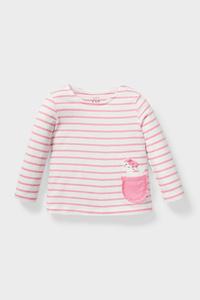 C&A Baby-Langarmshirt-Bio-Baumwolle-gestreift, Rosa, Größe: 62