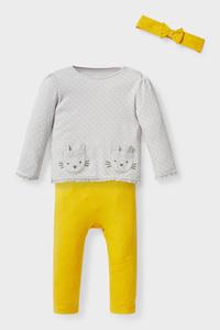 C&A Baby-Outfit-Bio-Baumwolle-3 teilig, Gelb, Größe: 56