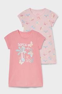 C&A Multipack 2er-Nachthemd-Bio-Baumwolle, Pink, Größe: 92