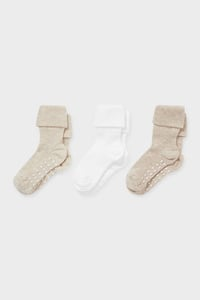 C&A Multipack 3er-Baby-Anti-Rutsch-Socken, Beige, Größe: 24-26