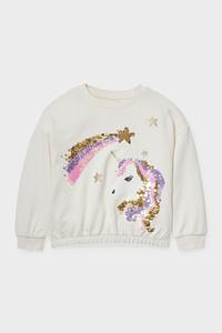 C&A Einhorn-Sweatshirt-Glanz-Effekt, Weiß, Größe: 92