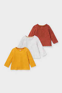 C&A Multipack 3er-Baby-Langarmshirt-Bio-Baumwolle, Gelb, Größe: 62