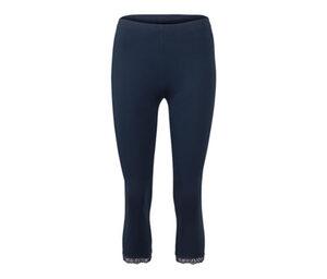 3/4-Leggings mit Spitzenborte, blau
