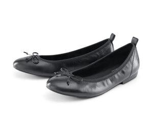 Leder-Ballerinas, schwarz
