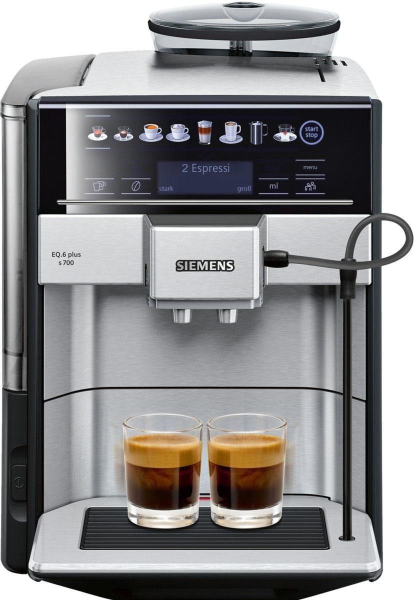 Bild 1 von SIEMENS Kaffeevollautomat EQ.6 plus s700 TE657503DE, automatische Reinigung, zwei Tassen gleichzeitig, 4 individuelle Profile, beleuchtetes Tassenpodest, Edelstahl