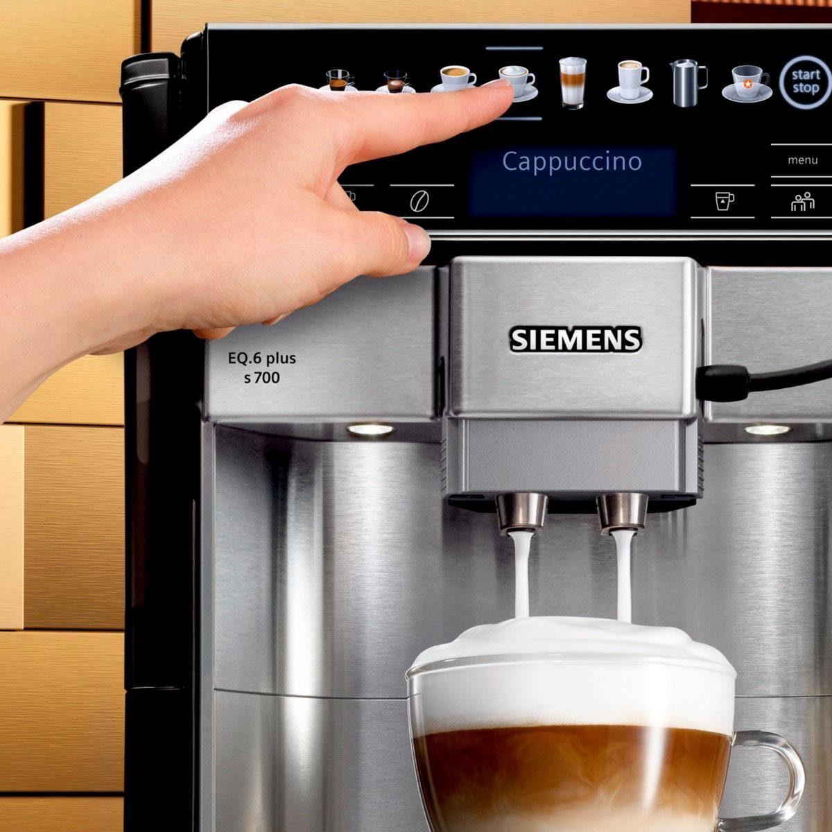 Bild 5 von SIEMENS Kaffeevollautomat EQ.6 plus s700 TE657503DE, automatische Reinigung, zwei Tassen gleichzeitig, 4 individuelle Profile, beleuchtetes Tassenpodest, Edelstahl